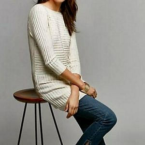 Anthropologie Moth oatmeal boat neck tunic sweater